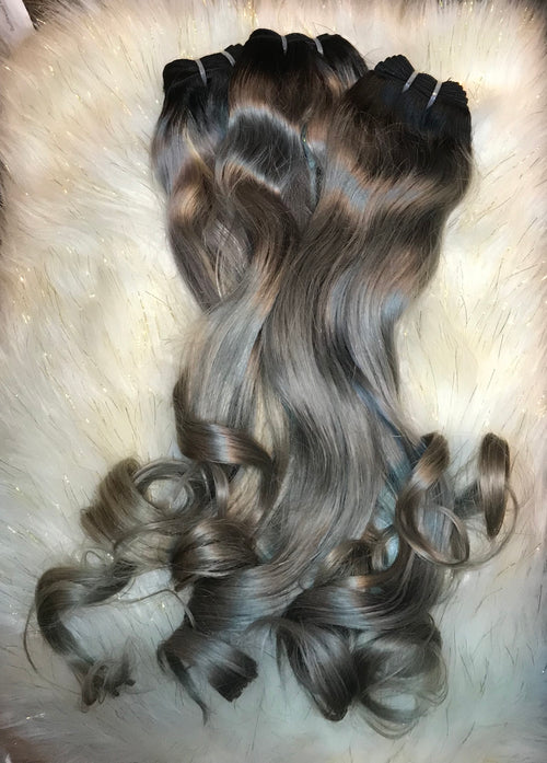 Raw 1B/Gray Ombre Hair 3-Bundle Deals