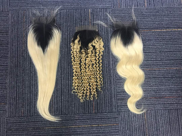 Virgin Russian 1B/#613 Ombre 4x4 Lace Closure