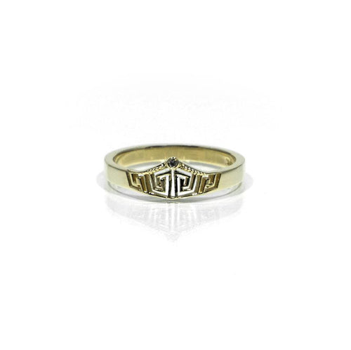 14k Yellow Gold Diamond Small Crown Ring