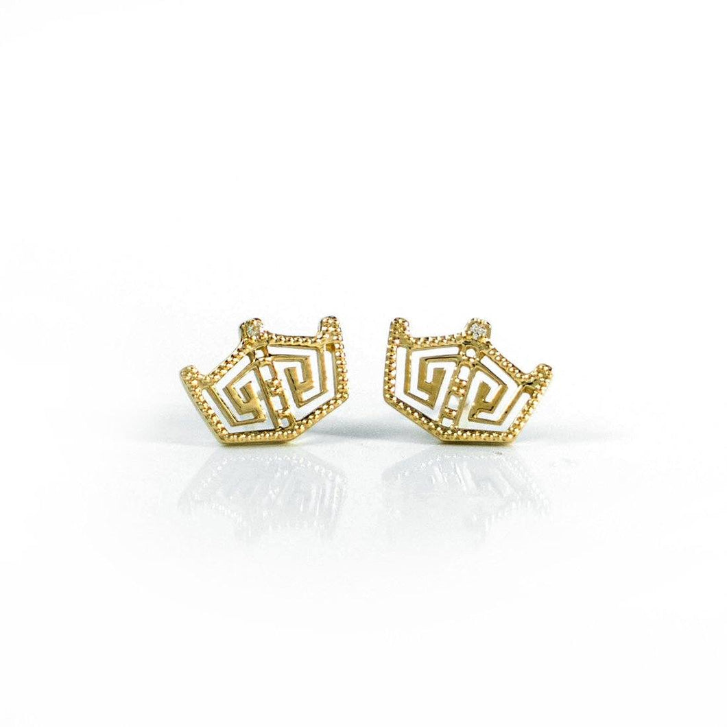 14K Yellow Gold Crown Studs