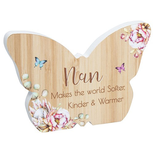 Vintage Floral Butterfly Nan Plaque