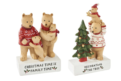 Two Bear Family Christmas Ornaments