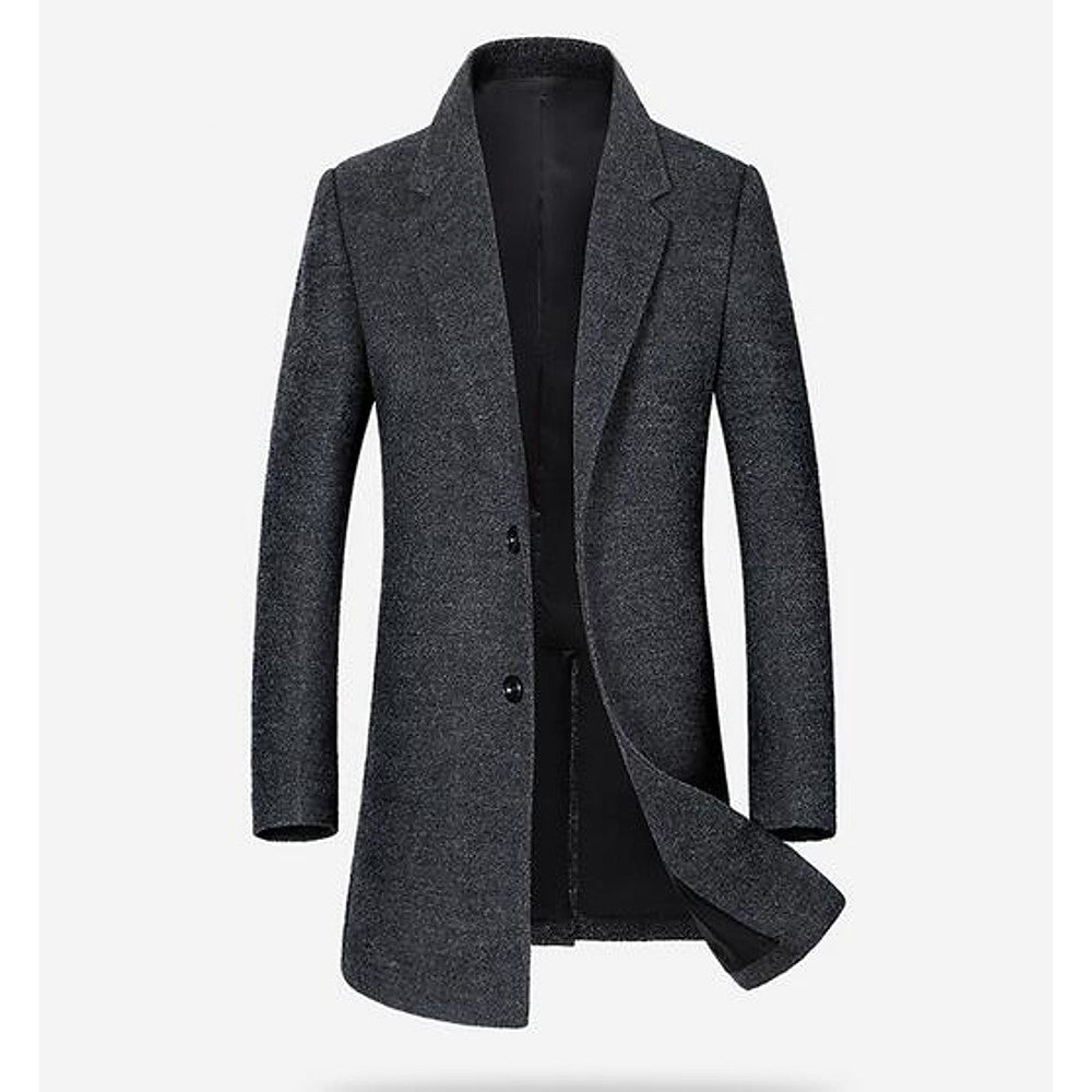 Men's Daily / Weekend Fall / Winter Long Coat, Solid Colored Peaked Lapel Long Sleeve 10% Wool 30% Rayon 60% Polyester Black / Dark Gray / Light gray / Slim