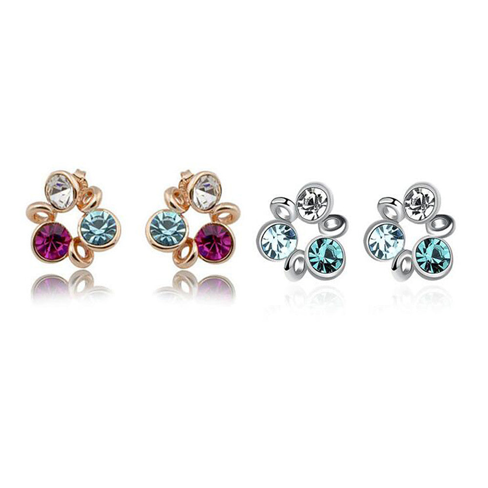 Ladies Stylish Elegant Rhinestone Silver Plated Gold Plated Earrings Jewelry G