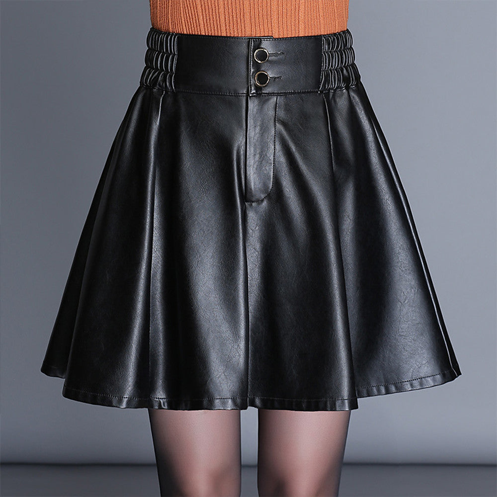 Faux Leather  Swing Skirts -  M L XL / Loose