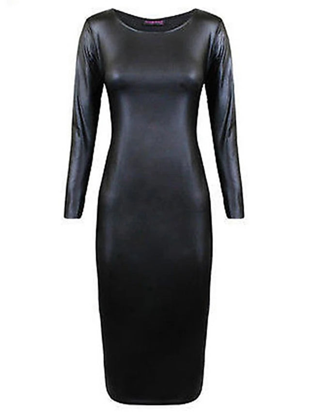 Bodycon Dress - Solid Colored Black Spring Black L XL XXL