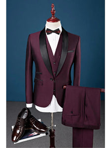 Burgundy Slim Fit Cotton Single Breasted Suit