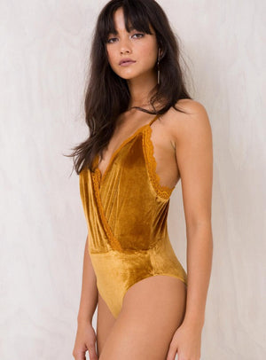 V Neck Cross Velvet Bodysuit