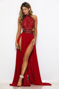 Halter Neck Lace Crochet Evening Cocktail Maxi Dress
