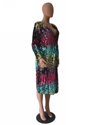 Women's Sequins Open Front Long Sleeve Club Cardigan