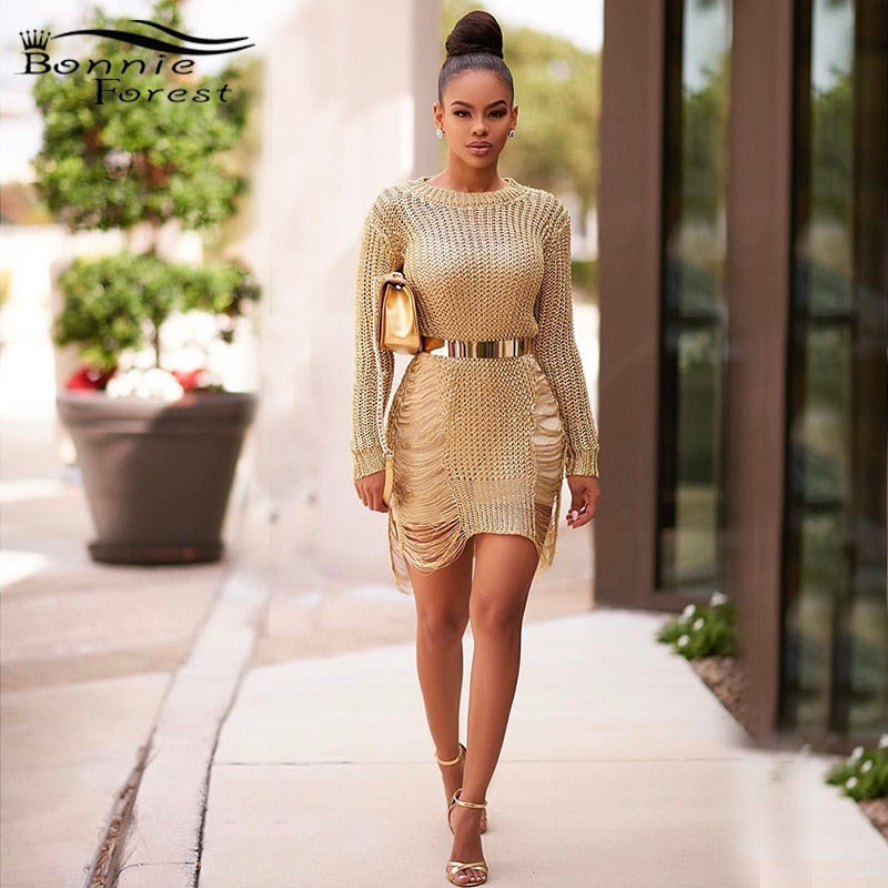 Gold Metallic Knit Shredded Sweater Dress