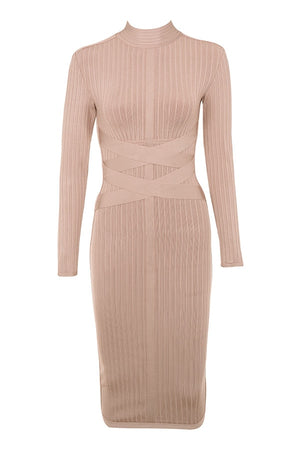 Ribbed Nude Bodycon Bandage Dress