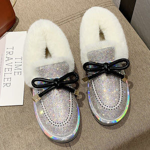 New Luxury Glitter Crystal Snow Boots With Warm Plush Fur