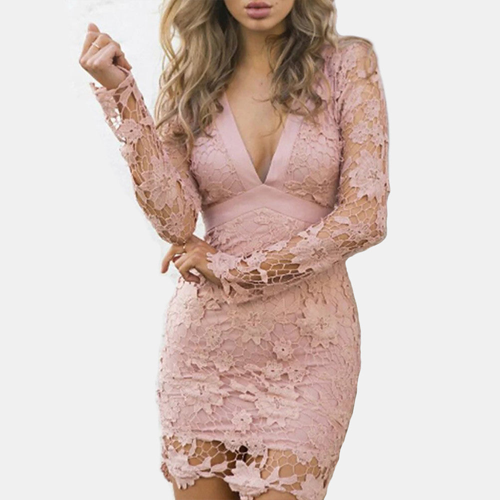 Lace Chic Mini Slim Bodycon Dress  M L XL