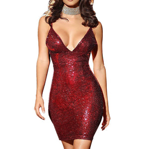Sequins Party Mini Bodycon Dress - M L XL