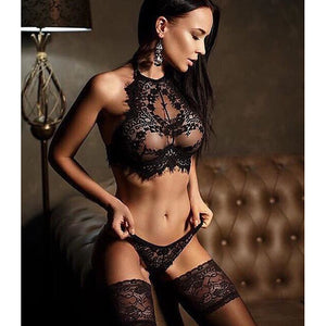 Women's Lace Backless Wireless Lace Bras & Panties Sets