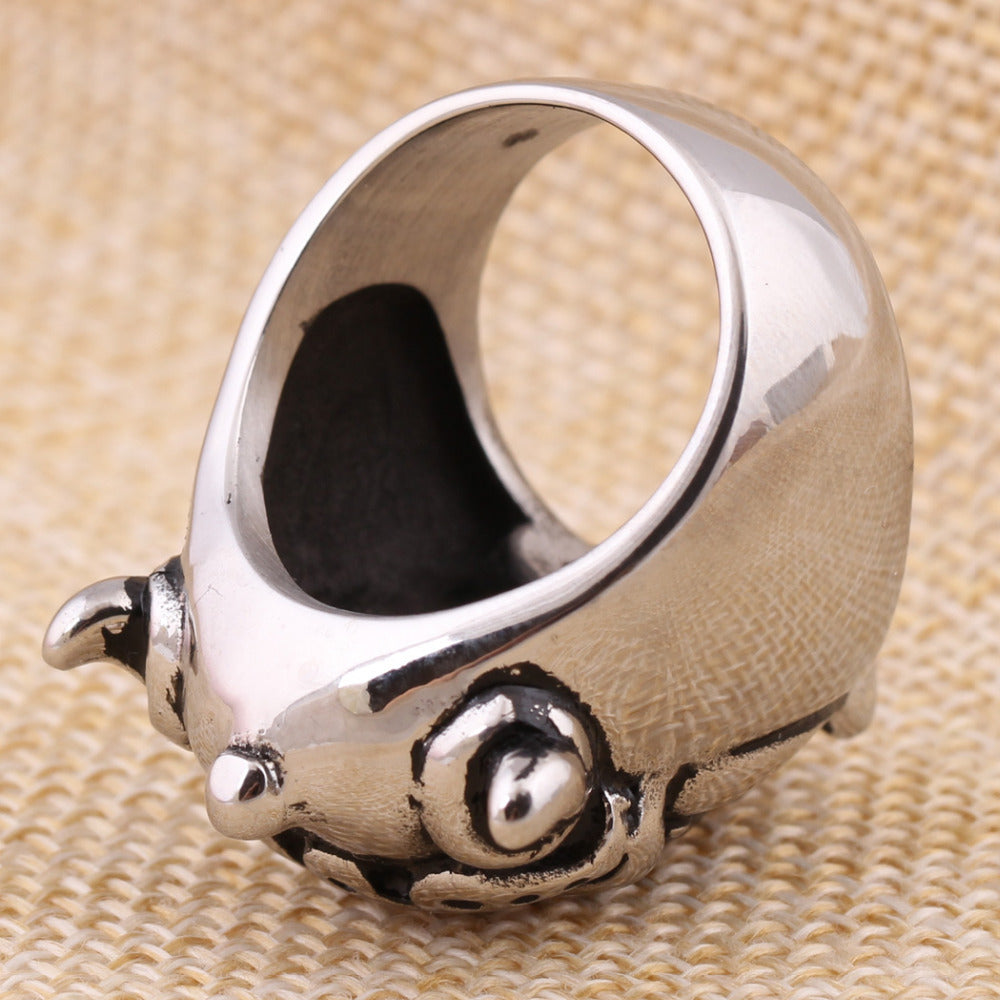 316L STAINLESS Steel Ring exaggerated retro Skull Pig Ring for man ...