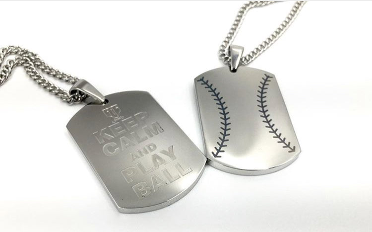 Get it personalized baseball dog tag necklace pendant 24 inch get it personalized baseball dog tag necklace pendant 24 inch stainless steel chain giftpouch and aloadofball Choice Image