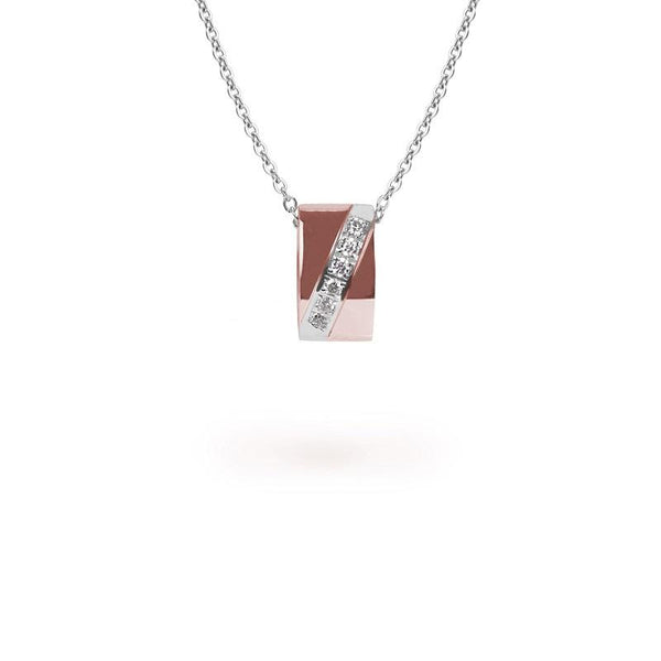 rose gold rectangle pendant necklace stones T318P001ARRO MIAJWL