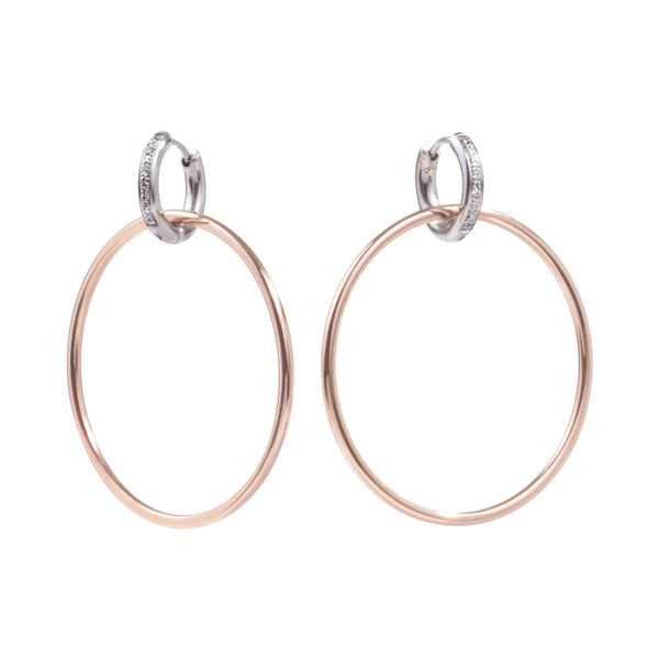 stainless steel 2in1 hoop earrings hypoallergenic rosegold T119E001ARRO MIA JEWELRY
