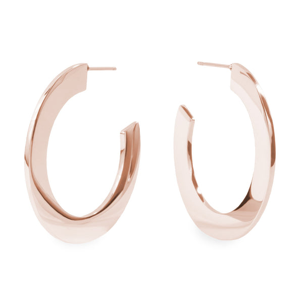 Rose gold minimal bold hoop earrings hypoallergenic T119E006DORO MIA JEWELRY