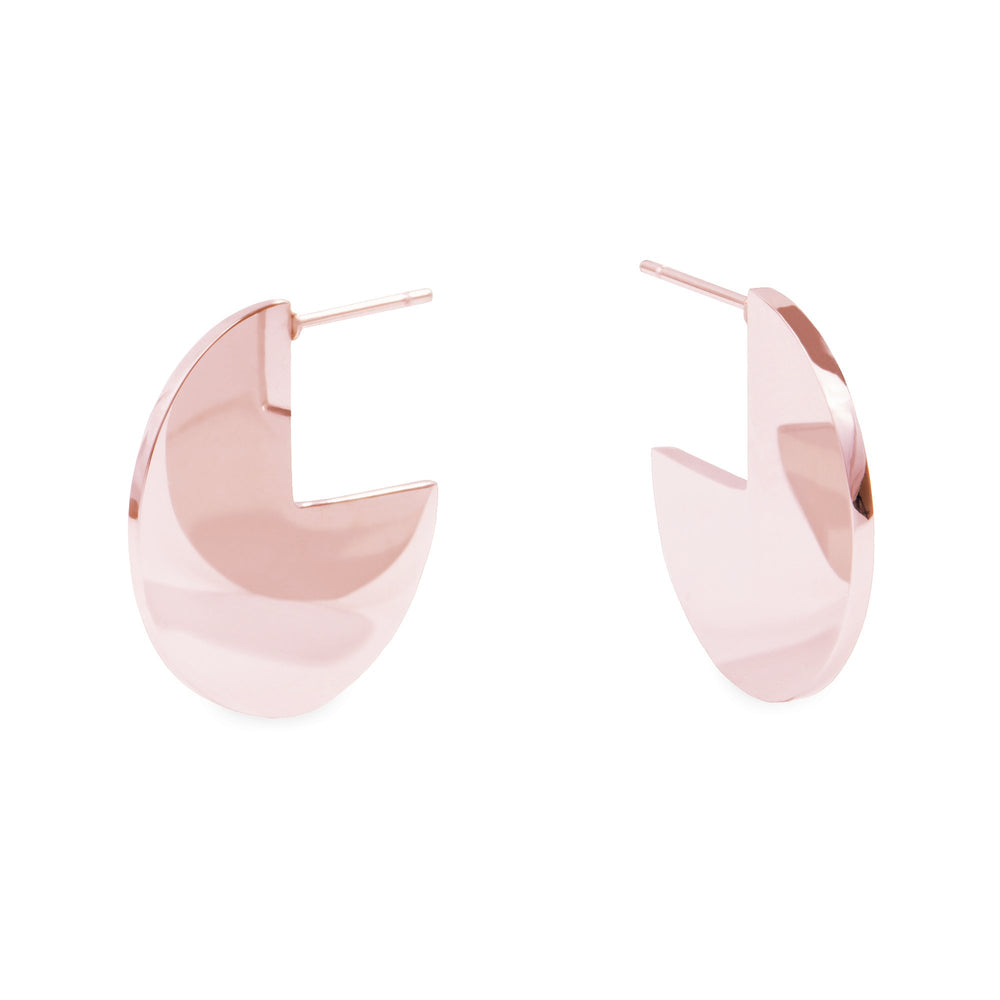 rose gold modern disk earrings hypoallergenic T119E007DORO MIAJWL