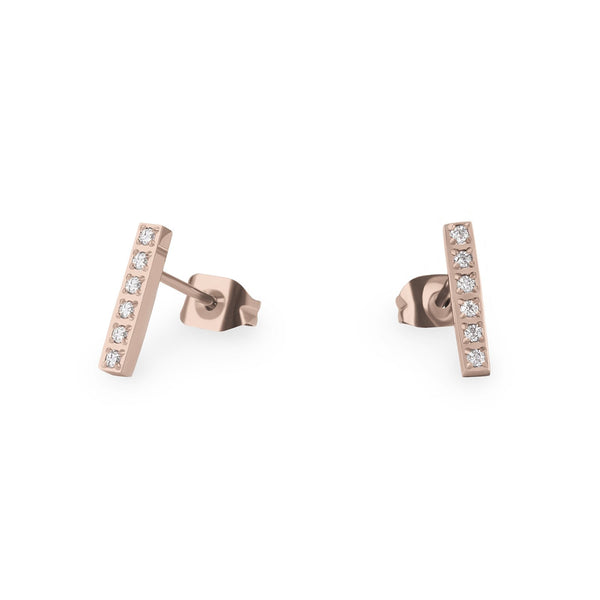 rosegold bar stud earrings stainless with stones - mia