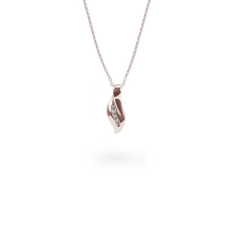 rose gold twisted pendant necklace stones T416P003DORO MIAJWL