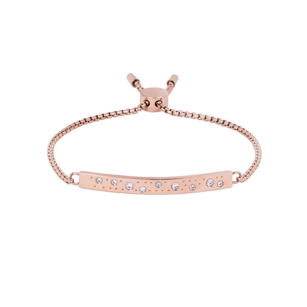 stainless steel rose gold adjustable bracelet stones plate