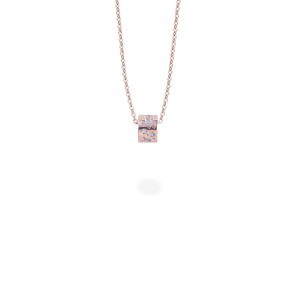 stainless steel rose gold delicate pendant necklace stones