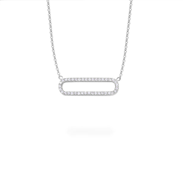 Modern stainless steel necklace with stones T418P006AR