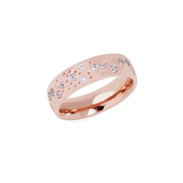 rose gold stainless steel ring stones constellation