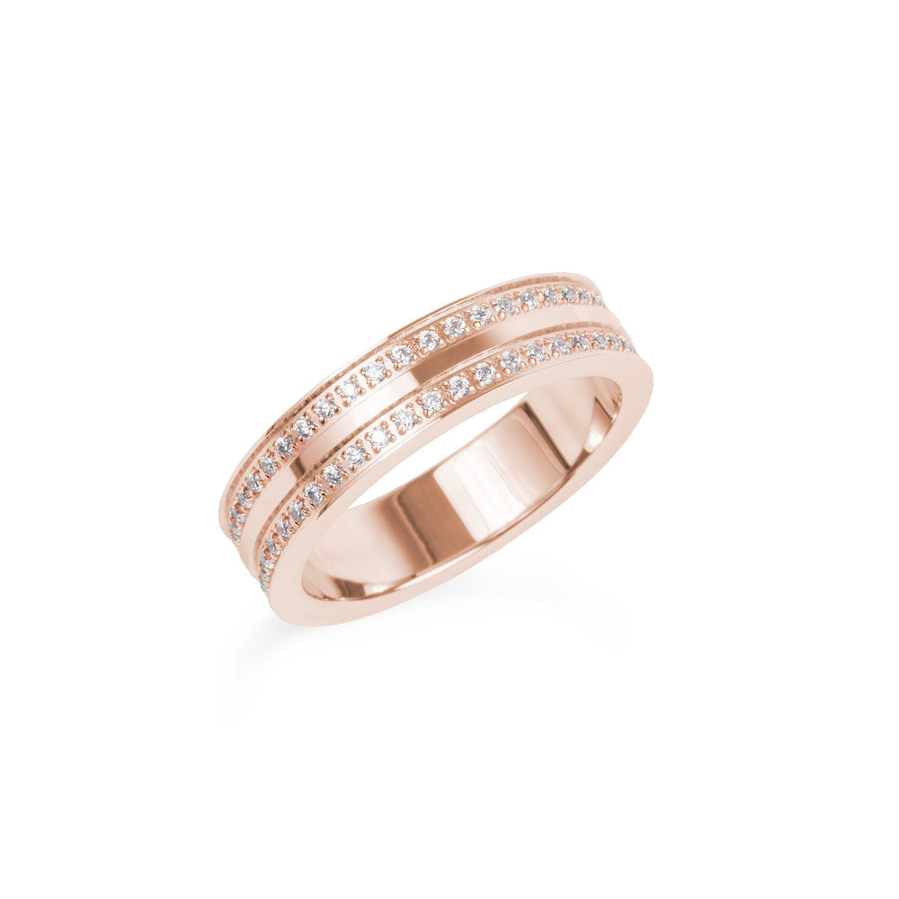 double eternity ring stainless steel women bague éternité acier inoxydable femme MIA T419R003DORO