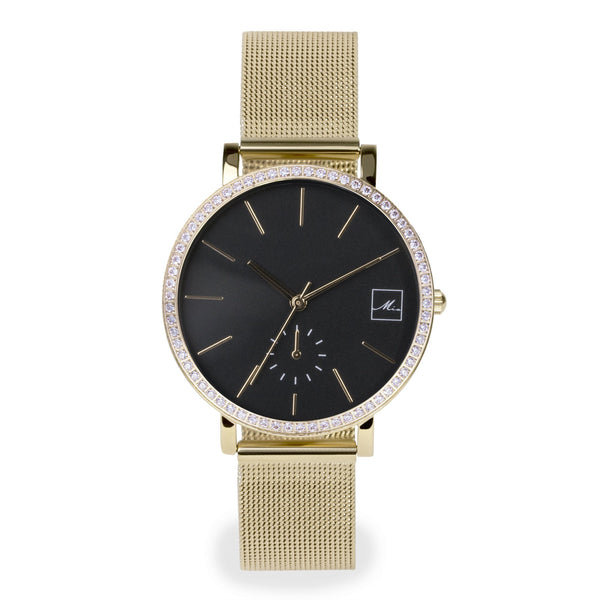 minimal gold watch with stones