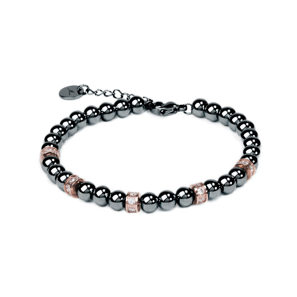 black beads hypoallergenic stainless steel bracelet