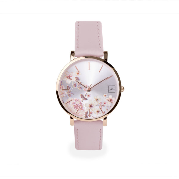 blush pink leather watch with flowers dial W119M01DORO MIA Jewelry