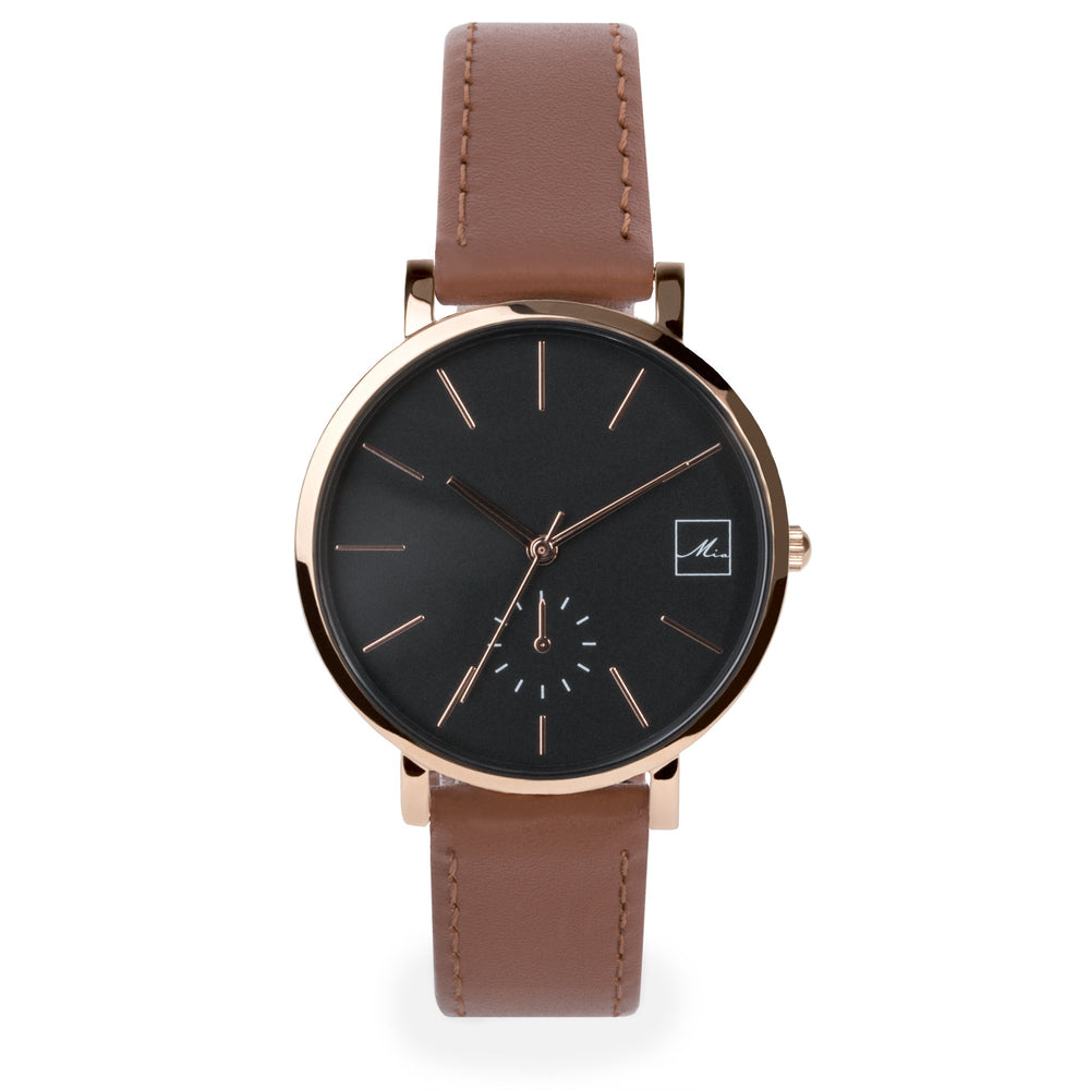 minimal brown leather watch for women
