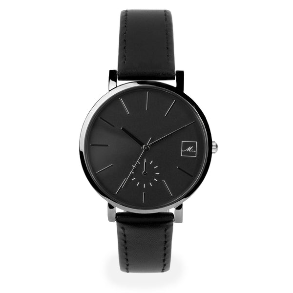 minimal black leather watch for women