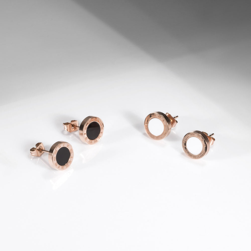 mia-acier-inoxydable-stainless-steel-rosegold-white-black-roman-earrings