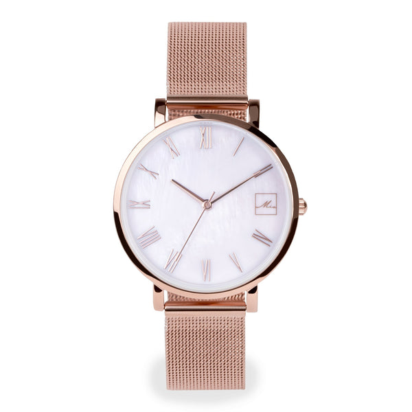 mop rose gold watch women