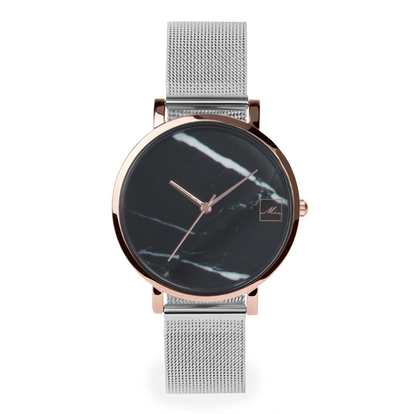 black marble silver mesh watch women