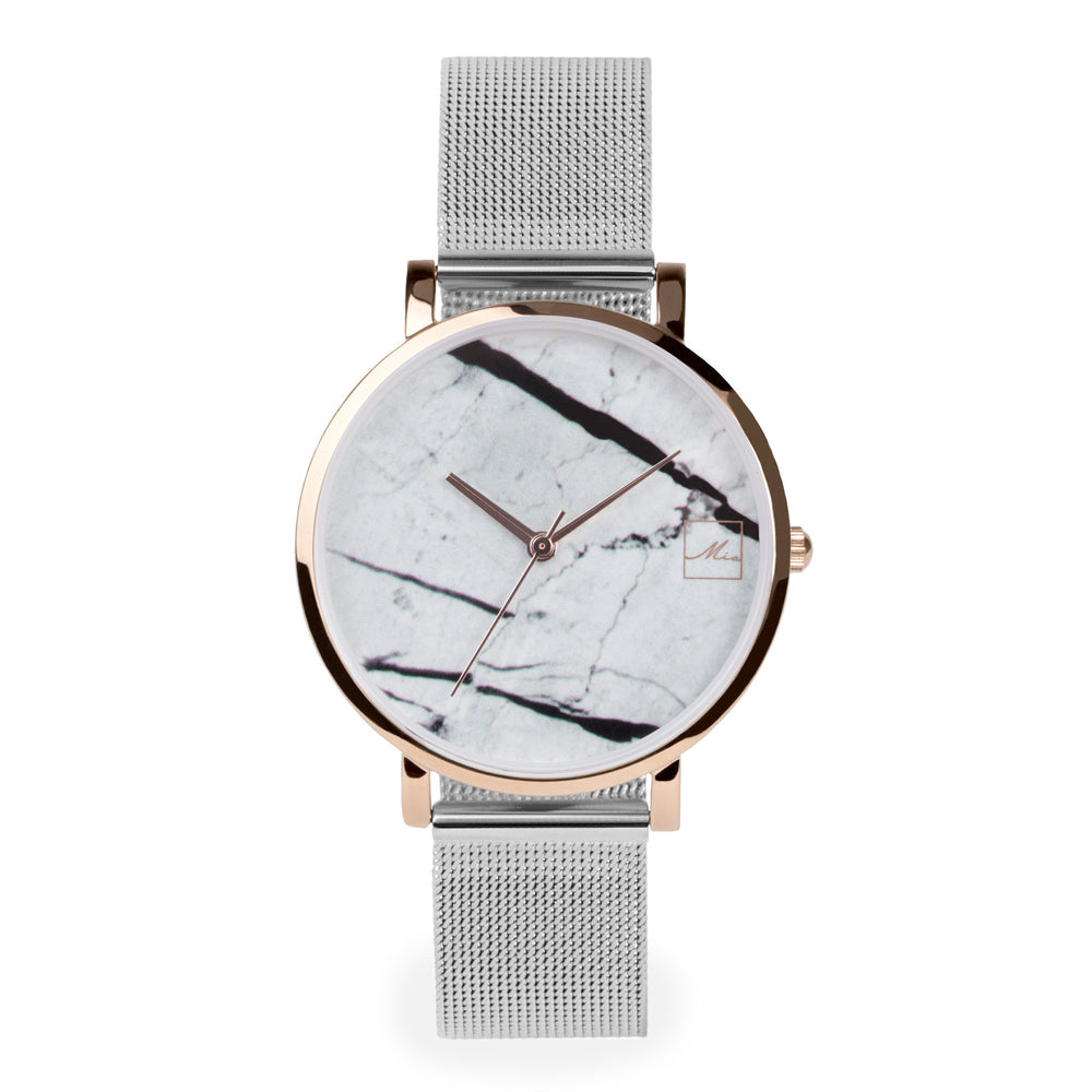 minimal white marble watch women