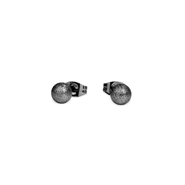 chic black round stud earrings