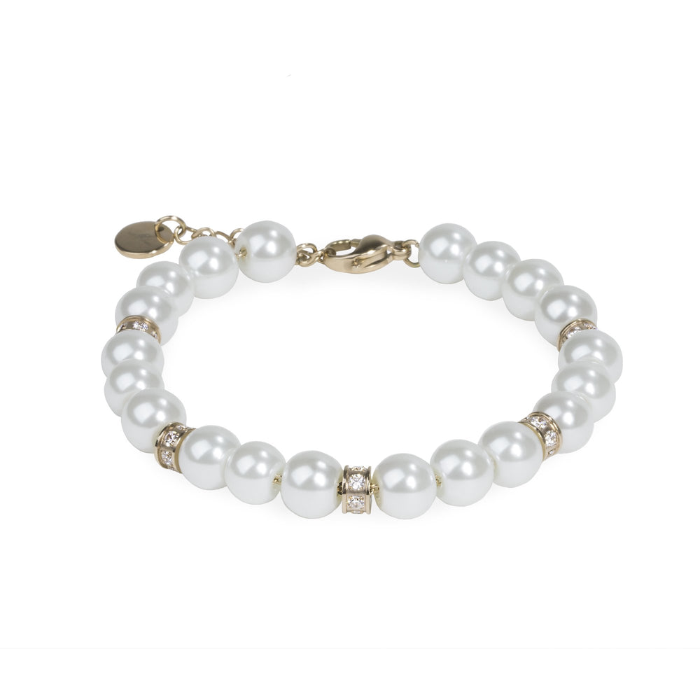 pearl bracelet with stones gold