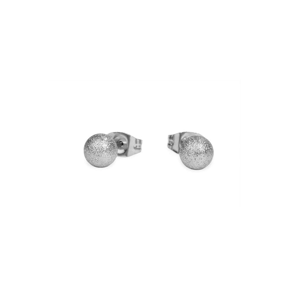 chic silver bead stud earrings