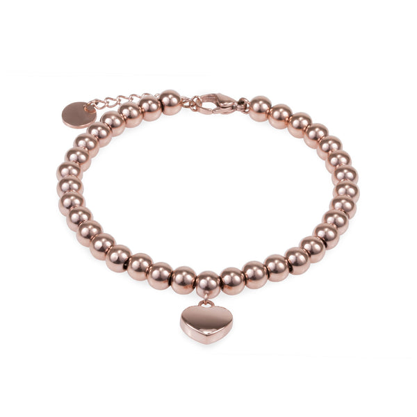 Stainless heart charm beads bracelet
