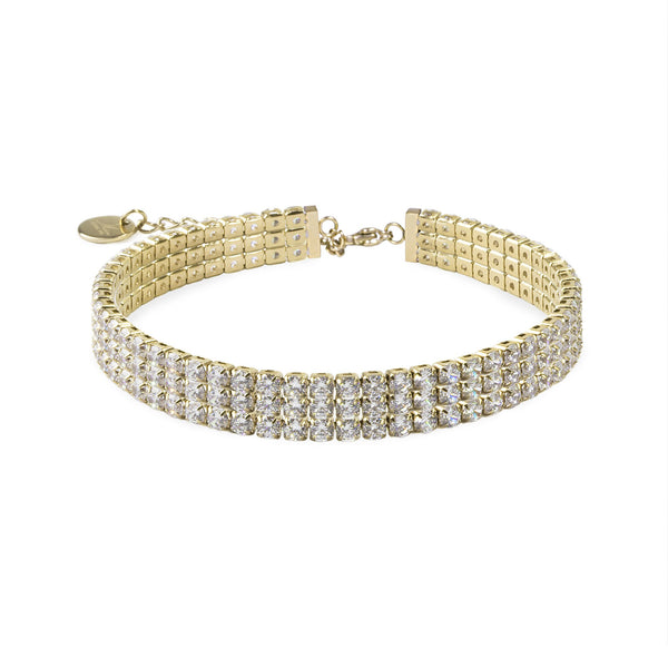 gold tennis bracelet stainless steel