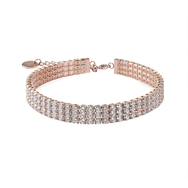 rose gold tennis bracelet stainless steel