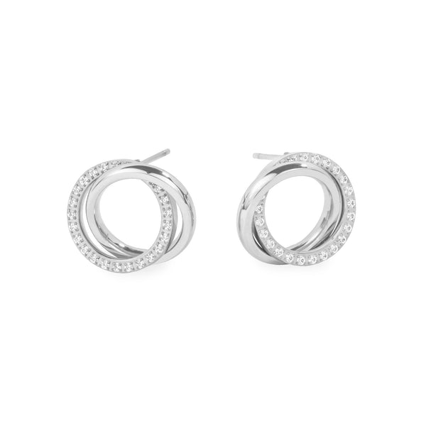 stainless steel circle earrings with stones hypoallergenic T119E009AR MIAJWL