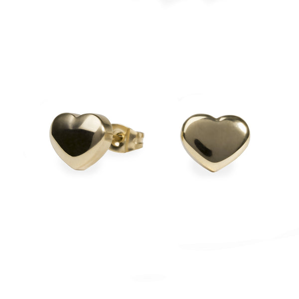 gold heart stud earrings for women
